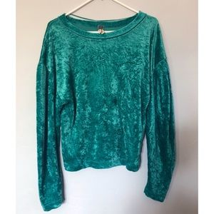 free people teal velvet sweater, great condition